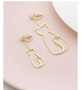 Original designer model minimalist small fresh cute metal hollow cat tassel earrings without ear holes ear clip female