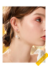 Load image into Gallery viewer, Simple design, wire wound, metal star, pearl ear stud, no ear hole, ear clip, women's pain free, everyday versatile