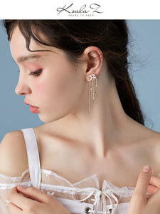 Advanced textured star meteor star waterfall long stream Sudo drop earring earrings no ear hole female super fairy