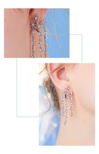 Medium-length round face thin silver stitching missing angle pentagon star flow su ear nail no ear hole ear clip female painless