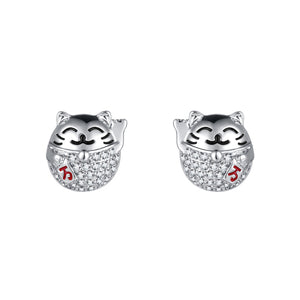 Chinese style cute Lucky Cat lucky lucky lucky lucky Earrings without earholes