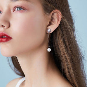 Star with simple pearl long flow drop earring earrings ear clip painless Korean temperament women's bag mail
