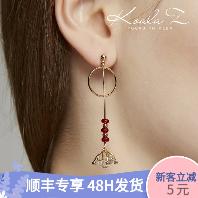 Asymmetric temperament bell Pendant Long Earrings ear clip no ear hole no pain clip trendy temperament