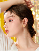 Load image into Gallery viewer, Long metal flower crystal tassel temperament Earrings without earholes and earclips for women without pain