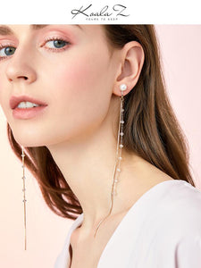 Super long super fairy cold wind fairy round face slim crystal snake bone chain tassel earring earring earring earring female Joker