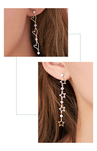 Fine point inlay welding process! Asymmetric love Star Long tassel earring with no ear hole and clip girl temperament