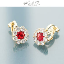 Load image into Gallery viewer, Basic simple round diamond flower zircon red diamond emerald earrings earring earring clip female