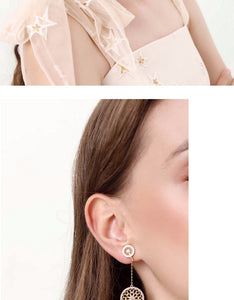 Lace cut out, diamond set, dream catcher, Japanese sweet earrings, earmuffs, no earholes, female, European and American atmosphere