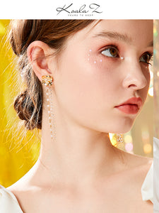 Long metal flower crystal tassel temperament Earrings without earholes and earclips for women without pain