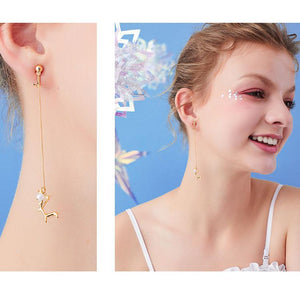 Asymmetrical Moose long flow ingres earrings without ear holes ear clip woman painless Korean Japanese round face