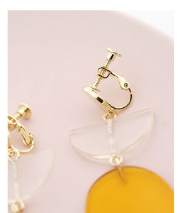 Hyperbole Gently ginger geometry European and American earrings no ear socket clip female