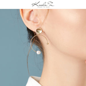 C-shaped circular arc simple and versatile natural pearl millet bead extremely simple earring ear clip without ear hole female Korean cold