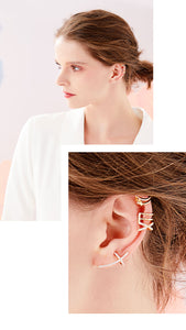 Bai-ty's personality French minimalist design feel full of diamond star man cold wind classic cheetah Sen line ear bone clip woman