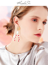 Load image into Gallery viewer, Modern retro harbor style! Hong Kong taste wave point U-shaped red glaze earrings earrings without ear holes