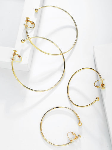 Cora Pig Europe and America Supermodel personality plating true gold simple exaggeration big circle metal hoop earrings no ear hole