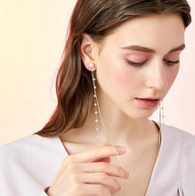 Load image into Gallery viewer, Super long super fairy cold wind fairy round face slim crystal snake bone chain tassel earring earring earring earring female Joker
