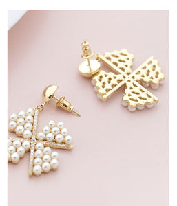 Heavy industry! Japanese fresh temperament fairy pearl windmill earnail no ear hole no pain earclip all day