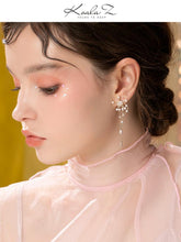 Load image into Gallery viewer, Original design heavy hand made windmill with tassel inlaid pearl earrings and ear clip without ear hole, female advanced round face