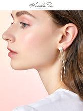 将图片加载到图库查看器,Design sense: round face, thin metal fringe, bow knot, pearl like long earring, ear clip, no ear hole, female Japan