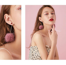 将图片加载到图库查看器,Japanese hundred thin medium-length mink hair ball love tassel earrings no ear hole ear clip female painless set