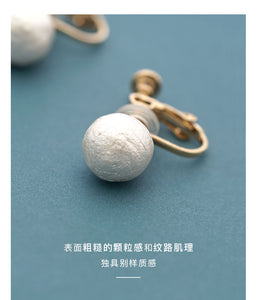 Understand! Gentle and versatile Japanese cotton pearl single pearl stud earrings with adjustable spiral clip