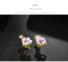 Load image into Gallery viewer, French single hand enamel purple small flower ear nail ear clip without ear hole female adjustable spiral Japanese fresh