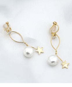 Simple design, wire wound, metal star, pearl ear stud, no ear hole, ear clip, women's pain free, everyday versatile