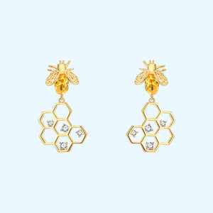The design feeling is fresh and lovely honeybee honeycomb earrings without earhole earclip female