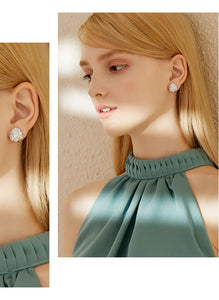 Classic Rose, soft and charming Austrian Rhinestone Earrings, earrings, ear clips, no earholes, female painless, lovely