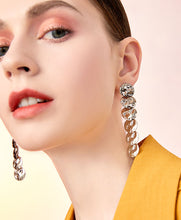 Load image into Gallery viewer, Advanced gray design sense Environmental protection light brass piece plated light titanium metal earrings earrings without ear holes female long model