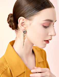 Advanced gray design sense Environmental protection light brass piece plated light titanium metal earrings earrings without ear holes female long model