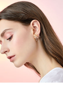 Thick plated real gold, cool wind, advanced design sense, divergent metal coral earrings, ear clips, no ear holes, women in Europe and America