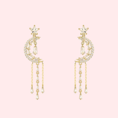 Fresh temperament crystal star moon Tassel Earrings Earrings earstuds painless earhole earclip female