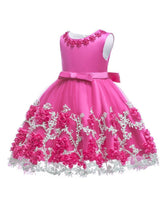 将图片加载到图库查看器,6 Colors Flower Trimmed Bow Belted Mesh Princess Dress Bodice Infant Occasional Party Wear