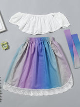 Load image into Gallery viewer, Stylish Infant Little Girl Clothes White Off Shoulder Top+ Lace Colorful Skirt+Headband Outfits