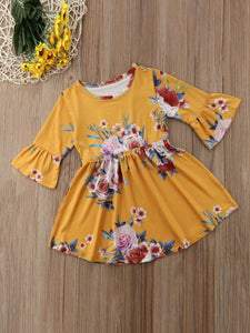 Vintage Bell-sleeved Flower One-Piece Dress for Spring Autumn Baby Little Girl
