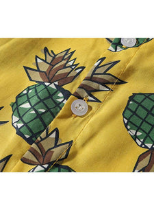 2 Colors Infant Baby Boy Pineapple Pattern Turn Down Collar Shirt