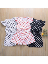 Load image into Gallery viewer, Polka Dots Flutter Sleeve Button Jumpsuit