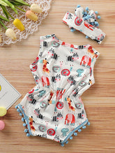 Load image into Gallery viewer, Pom Pom Trimmed Cartoon Animal Print Summer Romper Matching Headband
