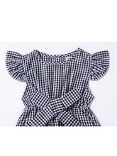 Load image into Gallery viewer, Pretty Flutter Sleeve Bow Checked Baby Girl Summer Overall
