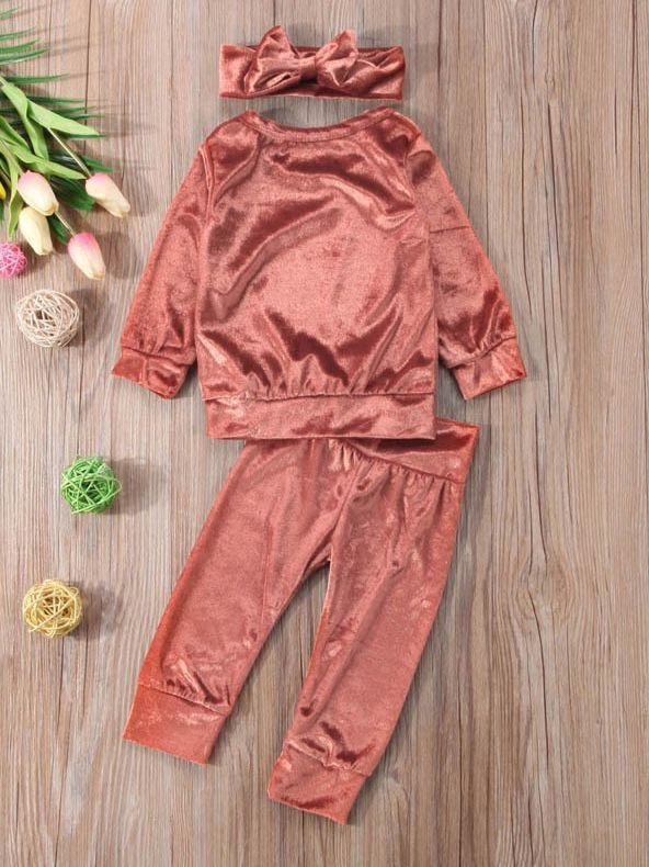 3-piece Pink Outfits Set Indoor Solid Color Velvet Clothes Pullover and Pants and Headband