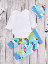 Load image into Gallery viewer, Rainbow Outfit 3-piece Bodysuit Long Sleeve +Rainbow Sun Print Pants+Hat