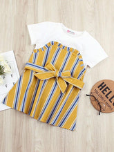 Load image into Gallery viewer, Stripe Bow Shift Dress for Summer Little Girl