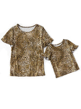 Load image into Gallery viewer, Mommy and Me Leopard Print Short Ruffle Sleeve T-shirt Blouse