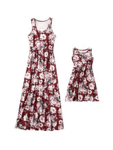 Load image into Gallery viewer, Mommy And Me Family Fitted  Big Flower Sleeveless Dress