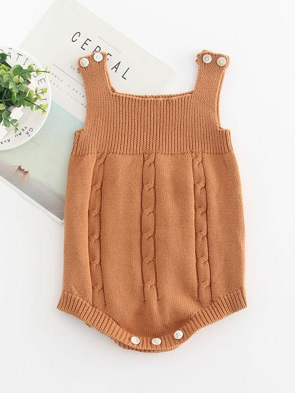 Solid Color Cotton Baby Onesie Sleeveless Suspender Knitwear