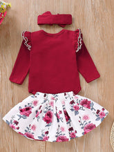 Load image into Gallery viewer, 3-Piece Outfits Long Flutter Sleeve Bodysuit+Flower Skirt+Red Bow Headband Spring Baby Girl Clothes