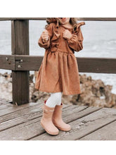 Load image into Gallery viewer, Spring Baby Toddler Girl Solid Color Flutter Corduroy Dress