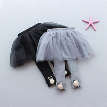Load image into Gallery viewer, Stylish Baby Girl Solid Color Bunny Ear Trim Pantskirt Black/Gray