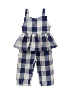 Stylish Checked Ruffle Overall For Baby Toddler Girl